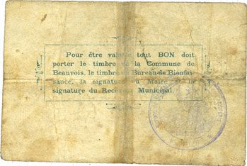 Banknotes Beauvois (59). Commune. Billet. 2 francs 11.12.1914