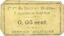 Banknotes Bordeaux (33). Cie Frse des Tramways Electriques & Omnibus. Billet. 0,05 cent