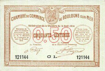 De Haute Qualite Banknotes Boulogne Sur Mer (62). Chambre De Commerce. Billet. Beau