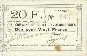 Banknotes Bruille-lez-Marchiennes (59). Ville. Billet. 20 francs 1915, 3e série