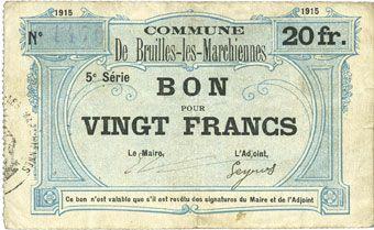 Banknotes Bruille-lez-Marchiennes (59). Ville. Billet. 20 francs 1915, 5e série