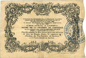 Banknotes Cambrai (59). Syndicat de Communes de la Région de Cambrai. Billet. 2 francs 10.5.1916, série F