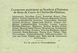 Banknotes Charleville et Mézières (08). Syndicat d'Emission de  Bons de Caisse. 1 franc 11.3.1916, série E