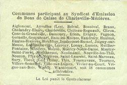 Banknotes Charleville et Mézières (08). Syndicat d'Emission de  Bons de Caisse. 1 franc 11.3.1916, série I
