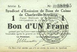 Banknotes Charleville et Mézières (08). Syndicat d'Emission de  Bons de Caisse. 1 franc 11.3.1916, série L