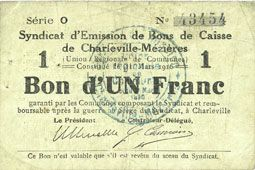 Banknotes Charleville et Mézières (08). Syndicat d'Emission de  Bons de Caisse. 1 franc 11.3.1916, série O