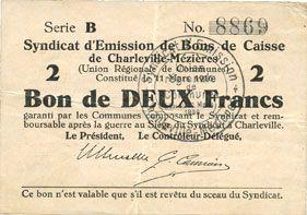 Banknotes Charleville et Mézières (08). Syndicat d'Emission de  Bons de Caisse. 2 francs 11.3.1916, série B