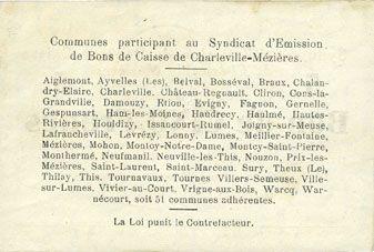 Banknotes Charleville et Mézières (08). Syndicat d'Emission de  Bons de Caisse. 5 francs 11.3.1916, série G