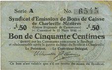 Banknotes Charleville et Mézières (08). Syndicat d'Emission de  Bons de Caisse. 50 cmes 11.3.1916, série A