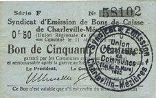 Banknotes Charleville et Mézières (08). Syndicat d'Emission de  Bons de Caisse. 50 cmes 11.3.1916, série F
