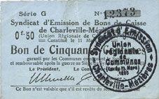Banknotes Charleville et Mézières (08). Syndicat d'Emission de  Bons de Caisse. 50 cmes 11.3.1916, série G