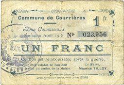 Banknotes Courrières (62). Commune. Billet. 1 franc, émission août 1915