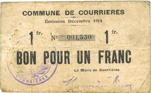 Banknotes Courrières (62). Commune. Billet. 1 franc, émission décembre 1914