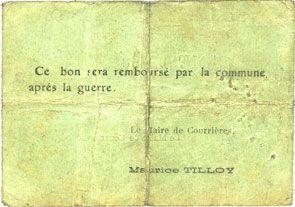Banknotes Courrières (62). Commune. Billet. 1 franc, émission février 1915