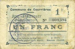 Banknotes Courrières (62). Commune. Billet. 1 franc, émission mars 1915