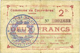 Banknotes Courrières (62). Commune. Billet. 2 francs, émission mars 1915