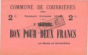 Banknotes Courrières (62). Commune. Billet. 2 francs, émission octobre 1914, Non émis avec cachet d'annulation
