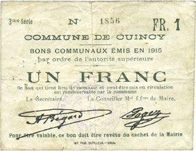 Banknotes Cuincy (59). Commune. Billet. 1 franc, émis en 1915