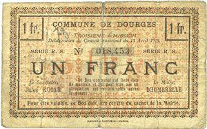 Banknotes Dourges (62). Commune. Billet. 1 franc 15.4.1915, série RS