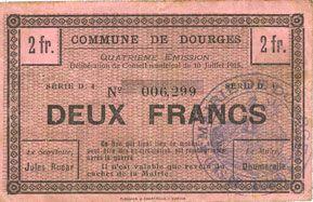 Banknotes Dourges (62). Commune. Billet. 2 francs 15.4.1915, série D4