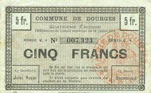 Banknotes Dourges (62). Commune. Billet. 5 francs 10.7.1915, série C4