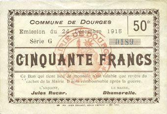 Banknotes Dourges (62). Commune. Billet. 5 francs 24.12.1915, série G