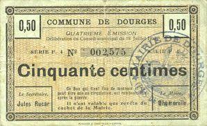 Banknotes Dourges (62). Commune. Billet. 50 centimes 18.7.1915, série F4