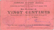 Banknotes Epehy (80). Commune. Billet. 25 centimes 31.1.1915