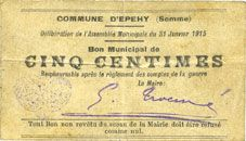 Banknotes Epehy (80). Commune. Billet. 5 centimes 31.1.1915