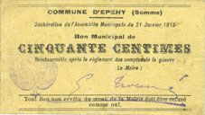 Banknotes Epehy (80). Commune. Billet. 50 centimes 31.1.1915