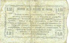 Banknotes Fourmies (59). Bon Régional Nord, Aisne et Oise. Billet. 50 cmes 8.5.1916, série 21
