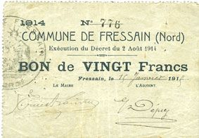 Banknotes Fressain (59). Commune. Billet. 20 francs 2.8.1914