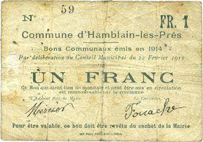 Banknotes Hamblain-les-Prés (62). Commune. Billet. 1 franc, émis en 1914, cachet au dos