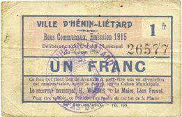 Banknotes Hénin-Liétard (62). Ville. Billet. 1 franc, émission 1915, 16.6.1915