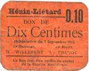 Banknotes Hénin-Liétard (62). Ville. Billet. 10 centimes 7.9.1915, carton orange