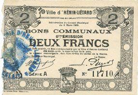 Banknotes Hénin-Liétard (62). Ville. Billet. 2 francs 6.3.1916, série A