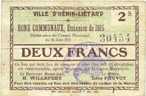 Banknotes Hénin-Liétard (62). Ville. Billet. 2 francs, émission 1915, 16.6.1915