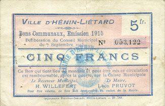 Banknotes Hénin-Liétard (62). Ville. Billet. 5 francs, émission 1915, 7.9.1915