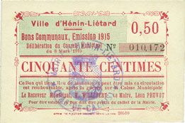 Banknotes Hénin-Liétard (62). Ville. Billet. 50 centimes, émission 1915, 8.3.1915