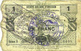 Banknotes Houdain (Houdain-les-Bavay) (59). Pour les Maires des Communes adhérentes. Billet. 1 franc, série 5