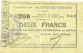 Banknotes Lavaqueresse (02). Commune. Billet. 2 francs 15.7.1915, série D