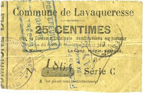 Banknotes Lavaqueresse (02). Commune. Billet. 25 centimes 15.6.1915, série C