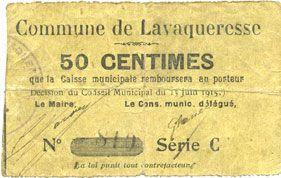 Banknotes Lavaqueresse (02). Commune. Billet. 50 centimes 15.6.1915, série C