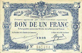 Banknotes french emergency notes le havre 76 ville et for Bon pour 1 franc chambre de commerce