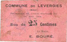 Banknotes Levergies (02). Commune. Billet. 25 cmes 16.8.1914