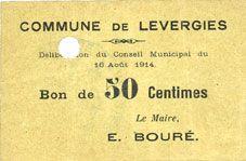 Banknotes Levergies (02). Commune. Billet. 50 cmes 16.8.1914, annulation par perforation