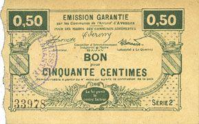 Banknotes Louvignies-Bavay (59). Pour les Maires des Communes adhérentes. Billet. 50 centimes, série 2