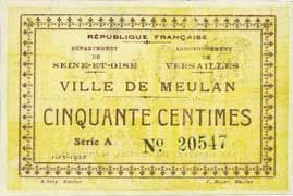 Banknotes Meulan (76). Ville. Billet. 50 centimes 1.12.1920, série A