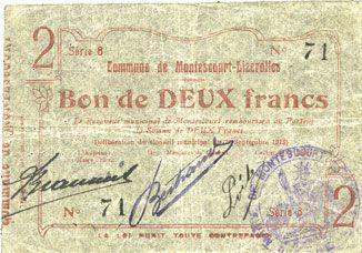 Banknotes Montescourt-Lizerolles (02). Commune. Billet. 2 francs 30.9.1915, série 8
