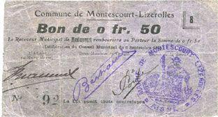 Banknotes Montescourt-Lizerolles (02). Commune. Billet. 50 centimes 6.9.1915, série 8